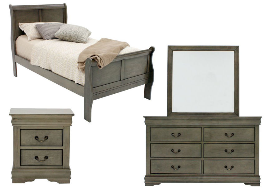 Picture of Louis Philippe Twin Size Bedroom Set - Gray