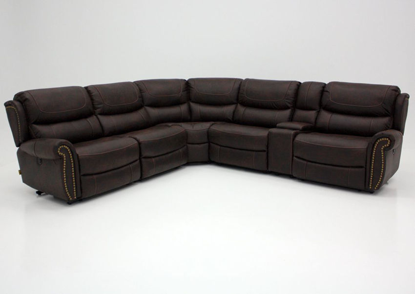 Brown Austin POWER ACTIVATED Sectional Sofa by Manwah Showing the Front View | Home Furniture Plus Bedding