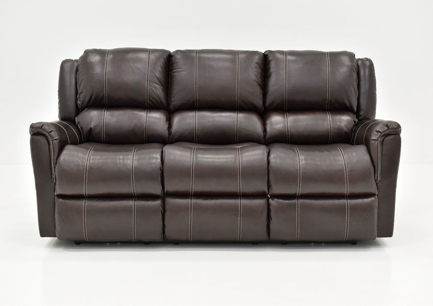 Front Facing View of the Chocolate Brown Mercury Leather Reclining Sofa by Homestretch   Home Furniture Plus Bedding