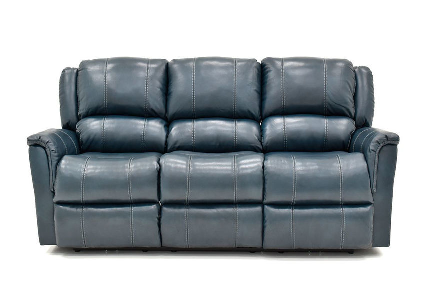 Front Facing View of the Navy Blue Mercury POWER Leather Reclining Sofa by Homestretch | Home Furniture Plus Bedding