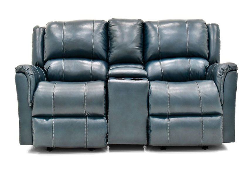 Front Facing View of the Navy Blue Mercury Leather Glider Reclining Loveseat by Homestretch | Home Furniture Plus Bedding