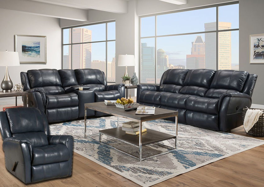 Navy Blue Mercury Reclining Sofa Set by Homestretch Showing the Room View,Made in the USA | Home Furniture Plus Bedding
