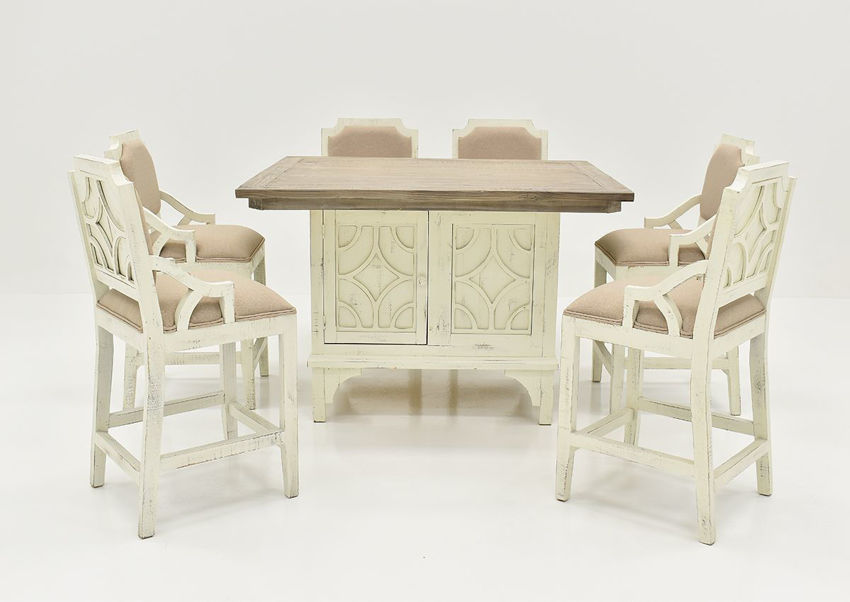 Antique White Westgate 7 Piece Pub Table Set by Vintage Showing the Front View | Home Furniture Plus Bedding