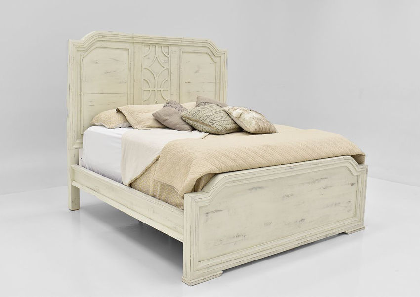 White Westgate Queen Size Panel Bed by Vintage Furniture Showing the Angle View | Home Furniture Plus Bedding
