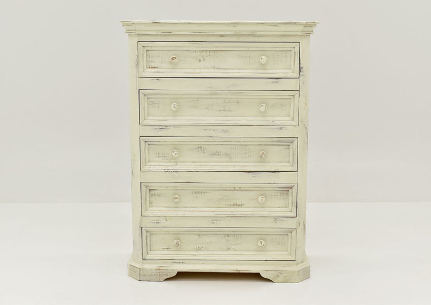 White Westgate Chest of Drawers by Vintage Furniture Showing the Front View | Home Furniture Plus Bedding