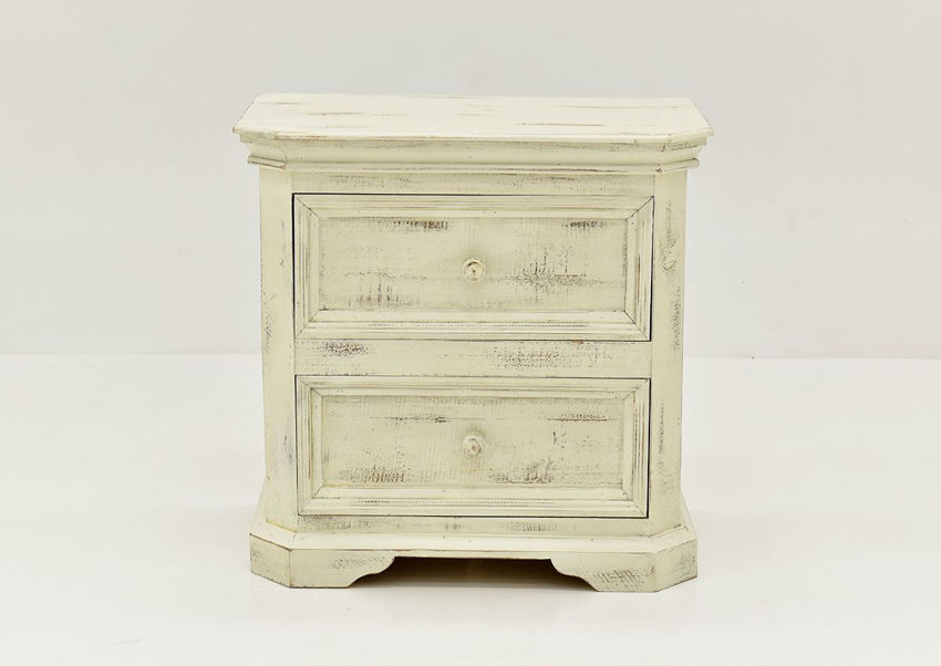 White Westgate Nightstand by Vintage Furniture Showing the Front View | Home Furniture Plus Bedding