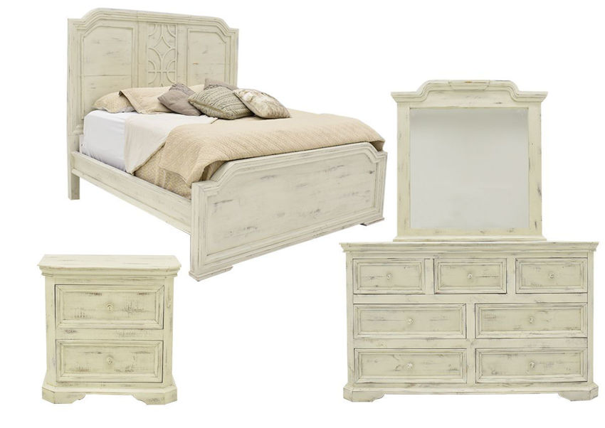 White Westgate Queen Size Bedroom Set by Vintage Furniture Showing the Group | Home Furniture Plus Bedding
