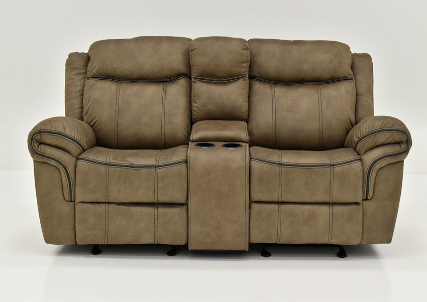 Brown Sorrento Reclining Glider Loveseat By Lane Furniture Showing the Front View | Home Furniture Plus Bedding