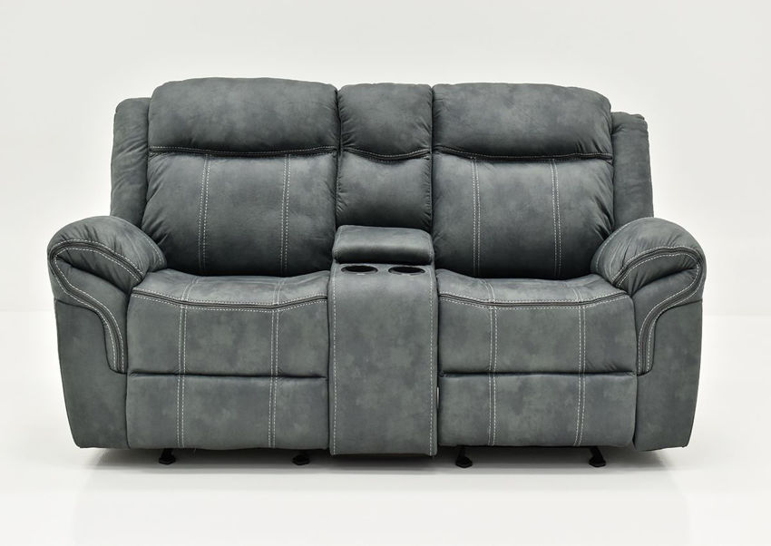 Gray Sorrento Reclining Glider Loveseat By Lane Furniture Showing the Front View | Home Furniture Plus Bedding