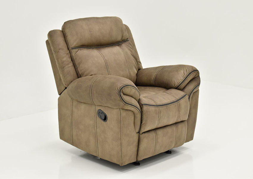 Brown Sorrento Glider Recliner By Lane Furniture Showing the Angle View | Home Furniture Plus Bedding