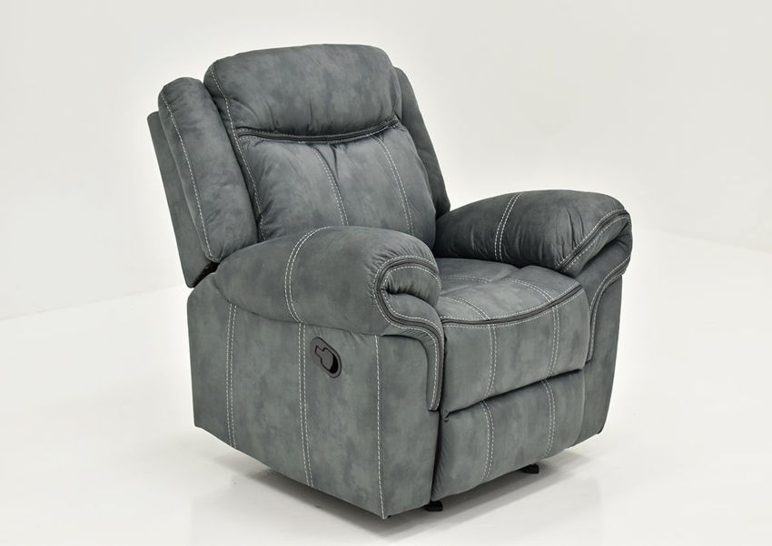 Gray Sorrento Glider Recliner By Lane Furniture Showing the Angle View | Home Furniture Plus Bedding