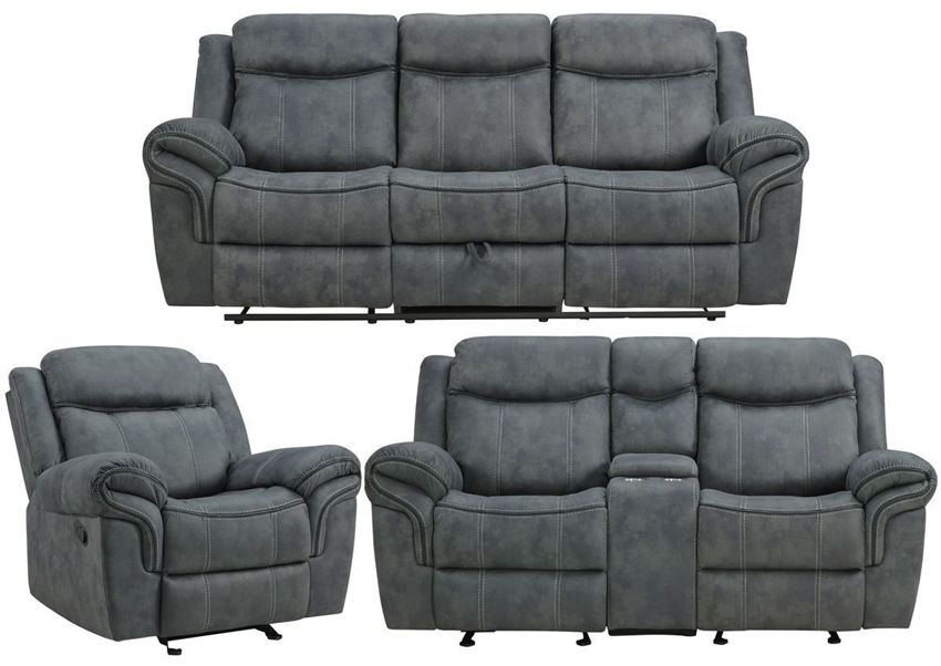 Gray Sorrento Reclining Sofa Set by Lane Showing the Group, Made in the USA | Home Furniture Plus Bedding