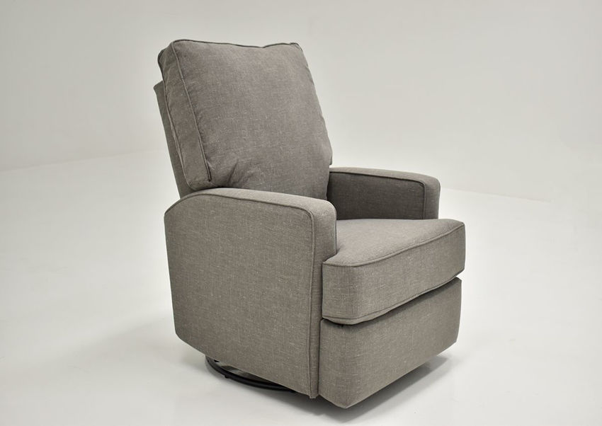 Gray Kersey Swivel Glider Recliner by Best Home Furnishings Showing the Angle View, Made in the USA | Home Furniture Plus Bedding