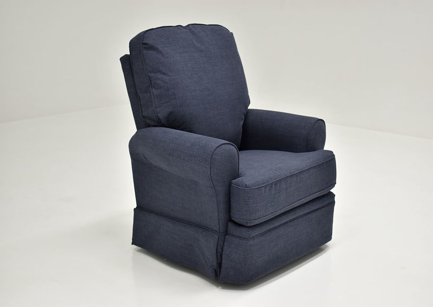 Navy Blue Juliana Swivel Glider Recliner by Best Home Furnishings Showing the Angle View, Made in the USA | Home Furniture Plus Bedding