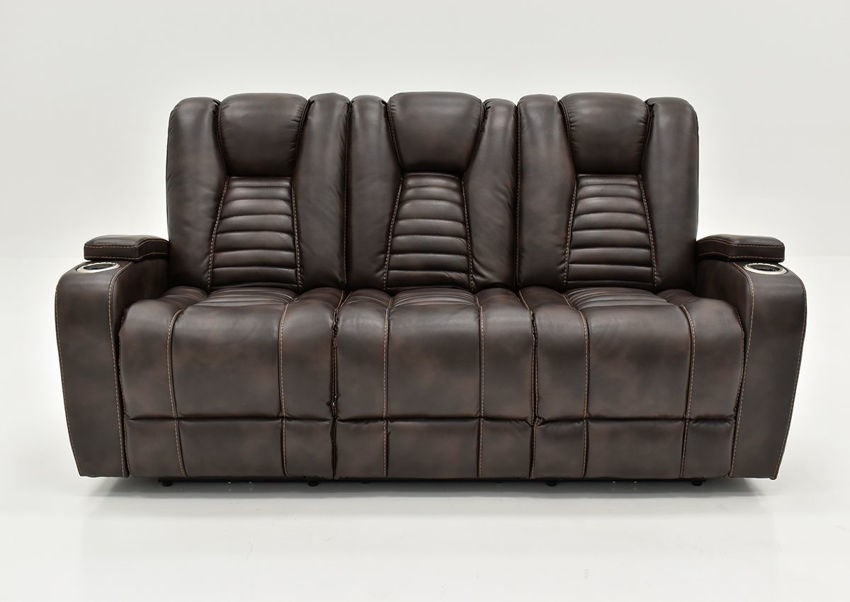Dark Brown Milan POWER Reclining Sofa by Cheers Man Wah Showing the Front View | Home Furniture Plus Bedding