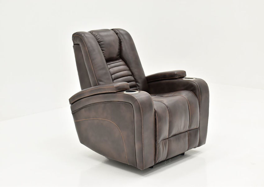 Dark Brown Milan POWER Recliner by Cheers Man Wah Showing the Angle View | Home Furniture Plus Bedding