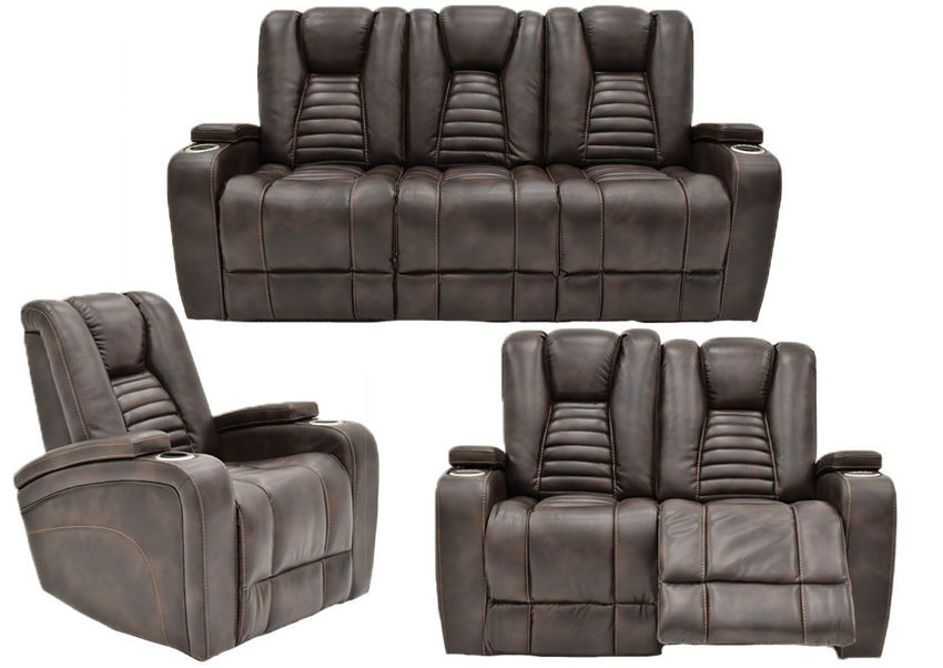 Dark Brown Milan POWER Reclining Sofa Set by Cheers Man Wah Showing the Group  | Home Furniture Plus Bedding
