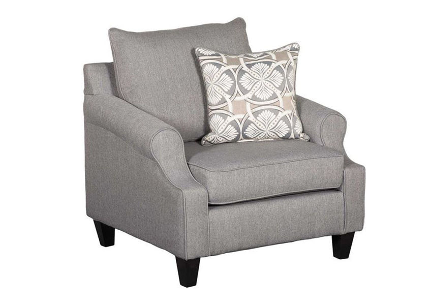 Bay Ridge Chair by Behold Furniture with Gray Upholstery and Accent Pillow   Home Furniture Plus Bedding