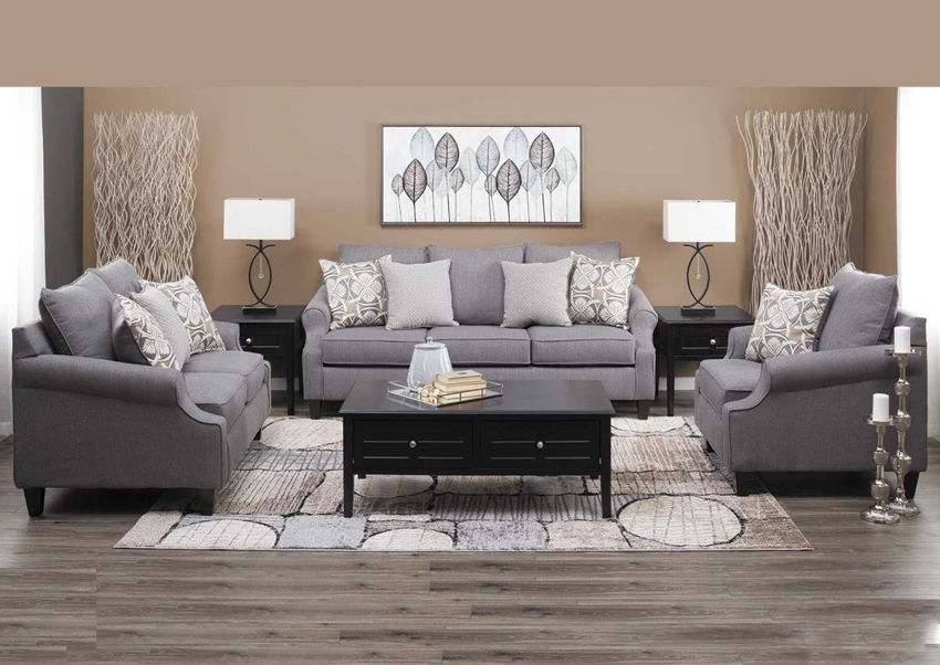 Gray Bay Ridge Sofa Set by Behold Showing the Room View, Made in the USA | Home Furniture Plus Bedding