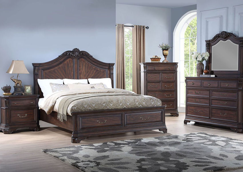 Cherry Brown Devonshire Queen Size Panel Bedroom Set by Avalon Showing the Room View  | Home Furniture Plus Bedding