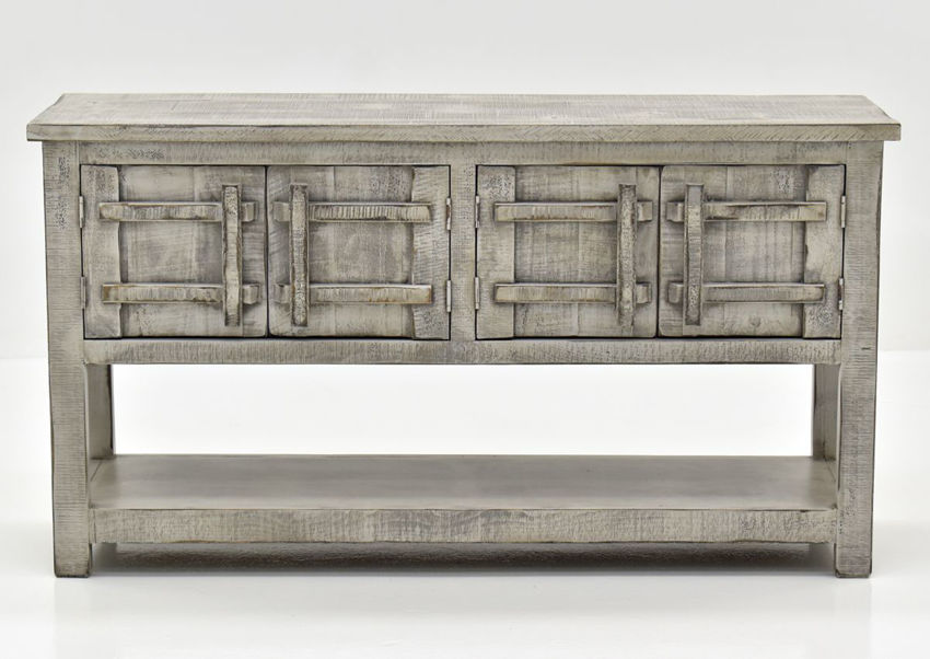 Gray San Andres Sofa Table by International Furniture Showing the Front View | Home Furniture Plus Bedding