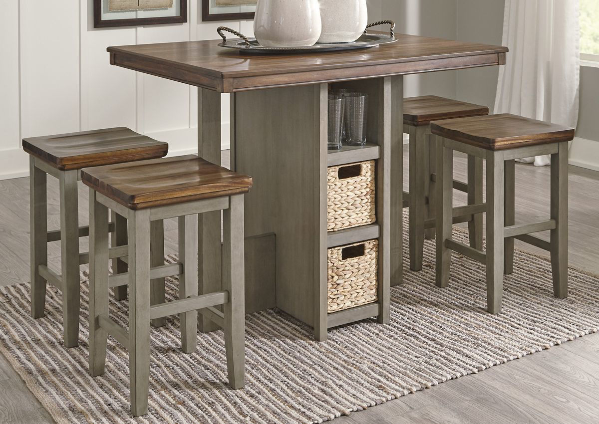 Picture of: Lettner 5 Piece Pub Dining Table Set Brown Home Furniture Plus Bedding