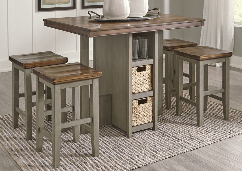 Brown and Gray Lettner 5 Piece Pub Dining Table Set by Ashley Furniture Showing the Room View | Home Furniture Plus Bedding