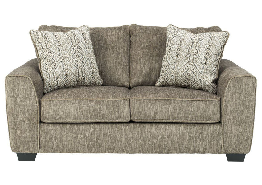 Chocolate Brown Olin Loveseat by Ashley Furniture Showing the Front View | Home Furniture Plus Bedding