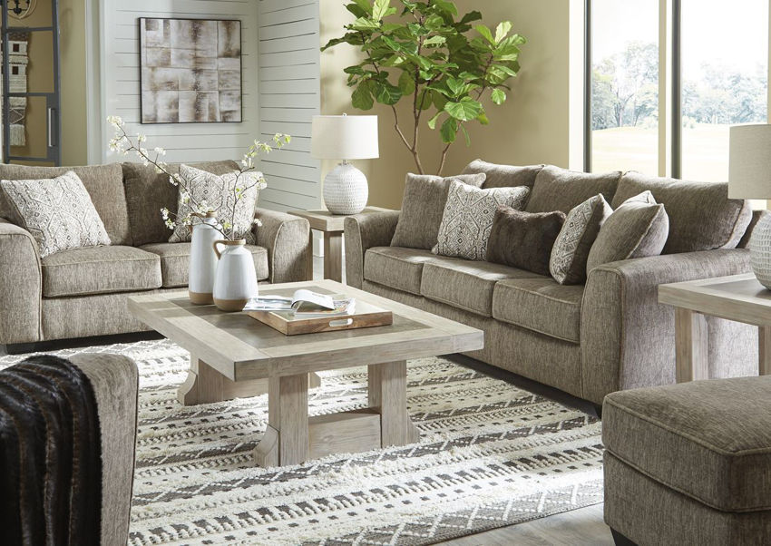 Chocolate Brown Olin Sofa Set by Ashley Furniture Showing the Room View | Home Furniture Plus Bedding