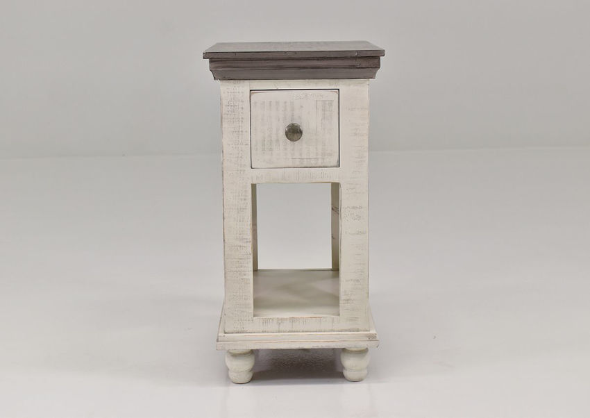 Off White Florence Chairside End Table by International Furniture Showing the Front View | Home Furniture Plus Bedding