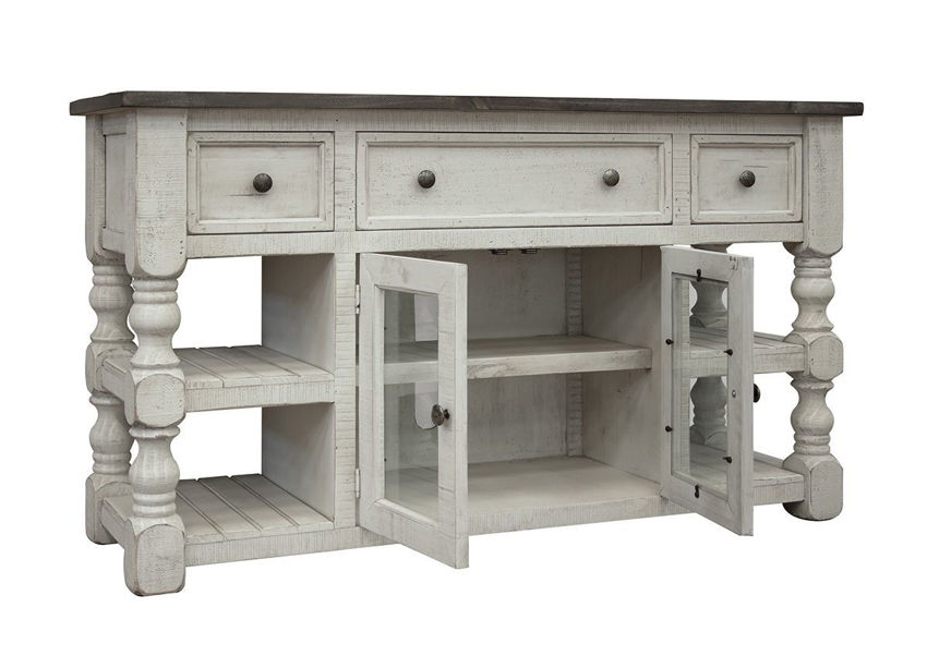 Off White Stone 60 Inch TV Stand by International Furniture Showing the Front View | Home Furniture Plus Bedding