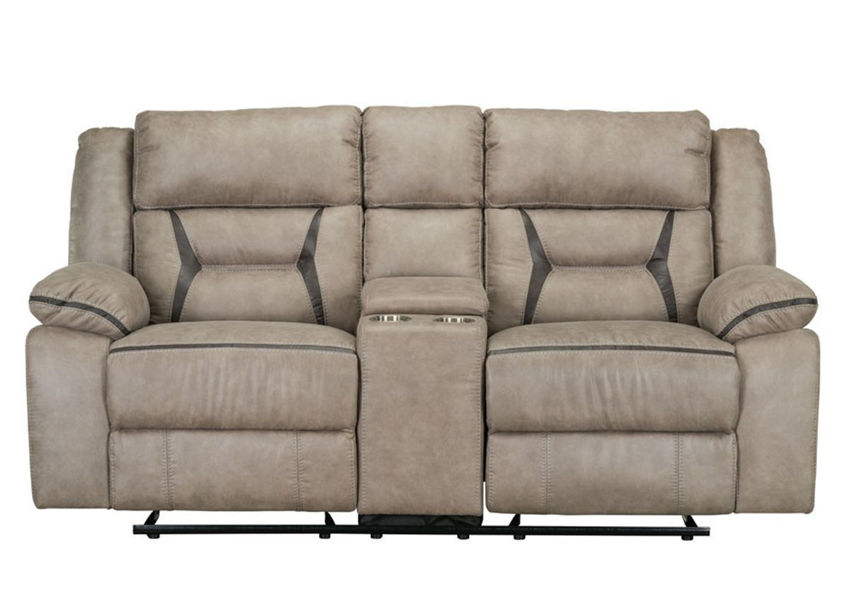 Taupe Brown Engage Reclining Loveseat by Lane Home Furnishings Showing the Front View , Made in the USA | Home Furniture Plus Bedding