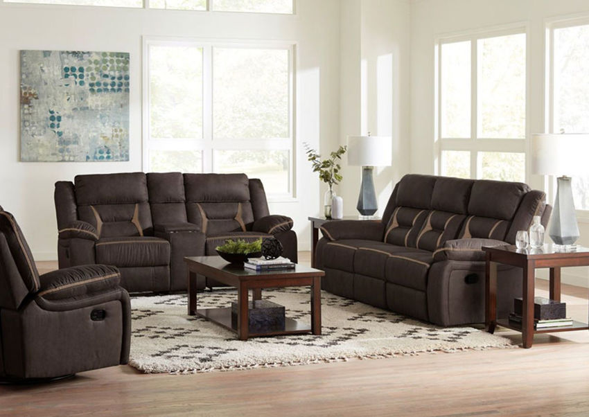 Chocolate Brown Engage Reclining Sofa Set by Lane Home Furnishings Showing the Room View, Made in the USA | Home Furniture Plus Bedding