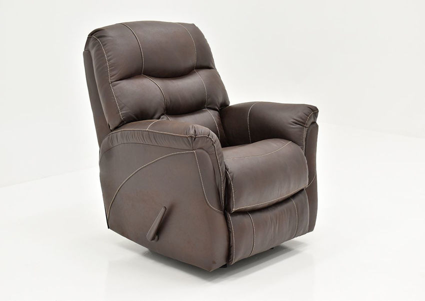 Angled View of the Sierra Rocker Recliner with Brown Upholstery | Home Furniture Plus Bedding