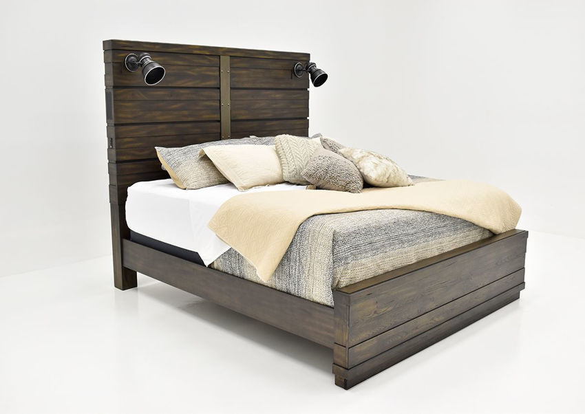 Brown Edison Queen Size Panel Bed by Bernard Furniture Showing the Angle View | Home Furniture Plus Bedding