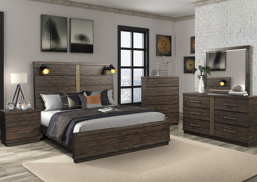 Brown Edison King Size Panel Bedroom Set by Bernard Furniture Showing the Room View | Home Furniture Plus Bedding