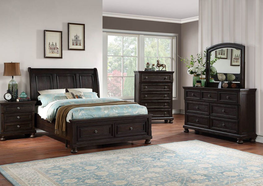 Dark Brown Sofia Laure Bedroom Set Showing the Room Setting | Home Furniture Plus Bedding