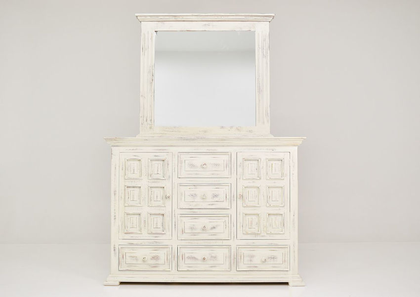 White Chalet Dresser with Mirror by Vintage Furniture Showing the Front View | Home Furniture Plus Bedding