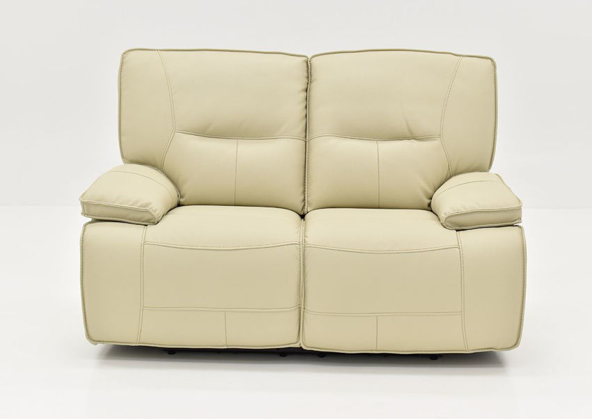 Front Facing View of the Spartacus POWER Reclining Loveseat in Off White | Home Furniture Plus Bedding