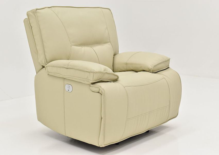 Slightly Angled View of the Spartacus POWER Recliner in Off White | Home Furniture Plus Bedding