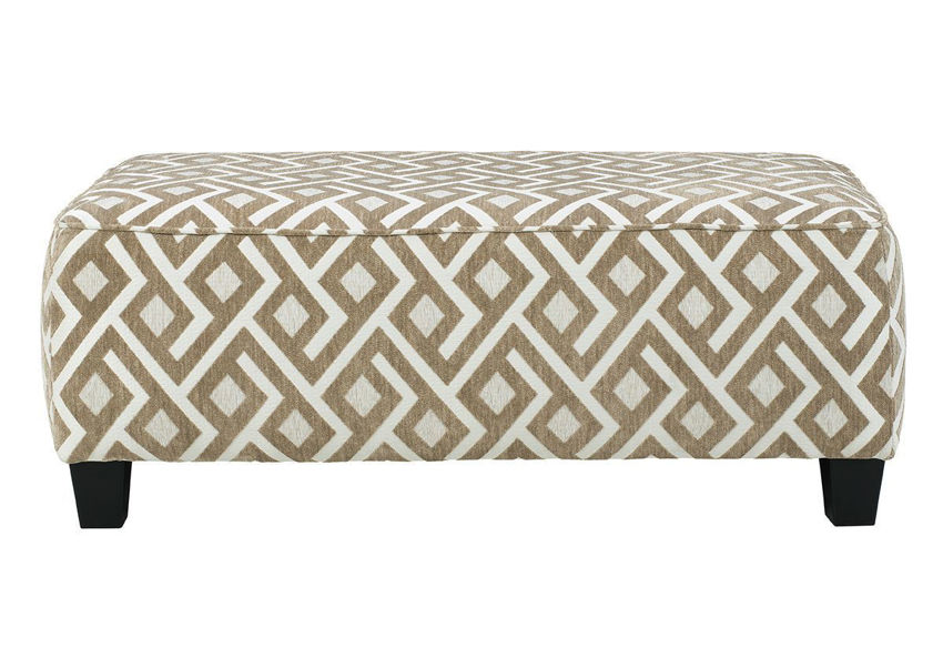 Side View Dovemont Ottoman by Ashley Furniture with Patterned Upholstery in Tan and White | Home Furniture Plus Bedding