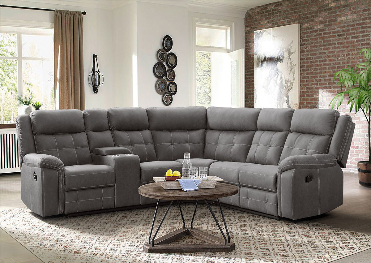Picture of: Keystone Reclining Sectional Sofa Gray Home Furniture Plus Bedding