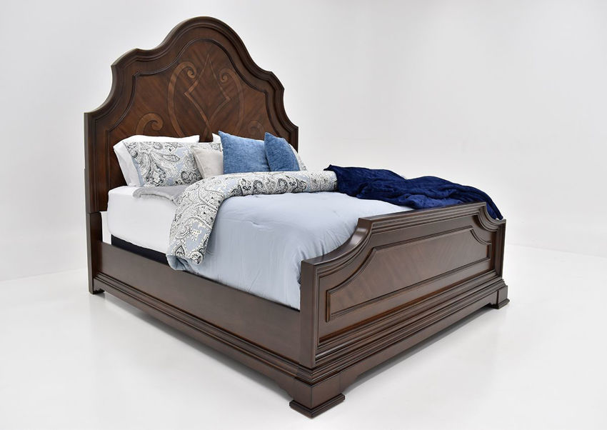 Angled View of the Plaza King Size Bed in Brown by Avalon Furniture | Home Furniture Plus Bedding