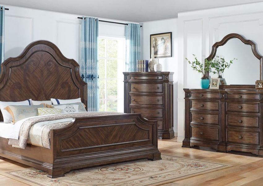 Room View of the Brown Plaza King Size Bedroom Set by Avalon Furniture | Home Furniture Plus Bedding