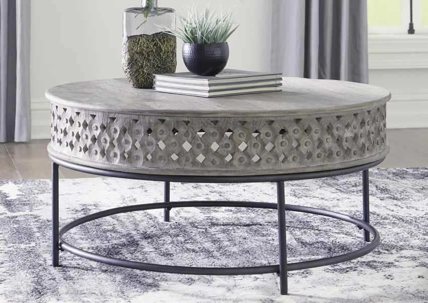 Room Shot of the Rastella Coffee Table with Light Gray Top and Matte Black Base | Home Furniture Plus Bedding