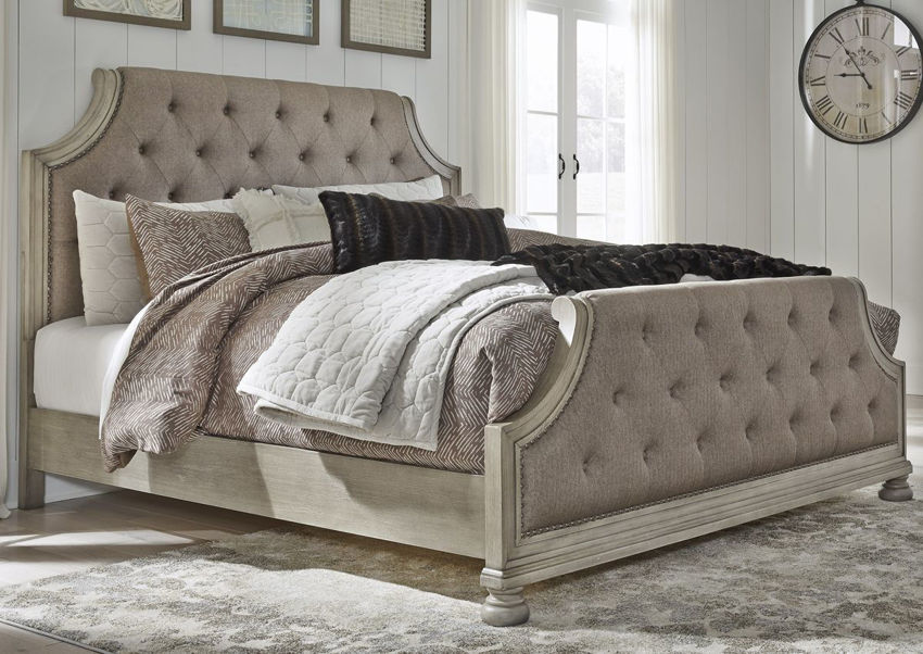 Room View of the Falkhurst Queen Size Upholstered Bed by Ashley Furniture | Home Furniture Plus Bedding