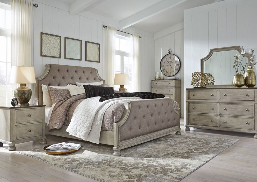 Room View of the Falkhurst King Size Upholstered Bedroom Set by Ashley Furniture   Home Furniture Plus Bedding