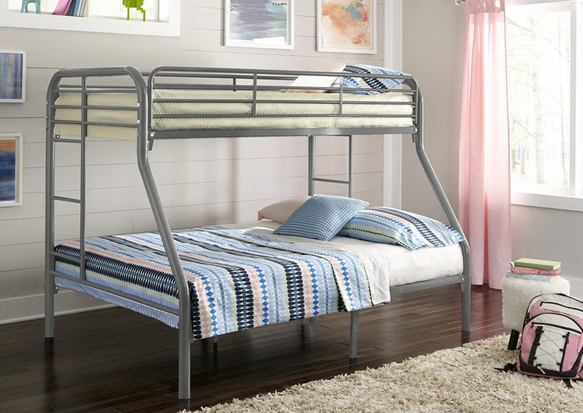 Picture of Silver Metal Bunk Bed - Twin-Over-Full