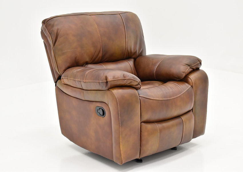 Angled View of the Legend Leather Glider Recliner by Man Wah | Home Furniture Plus Bedding