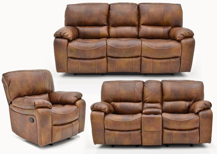Legend Leather Reclining Sofa Set by Man Wah | Home Furniture Plus Bedding